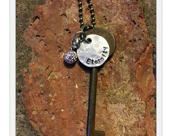 Antique Inspirational Skeleton Key Necklace - ETERNITY