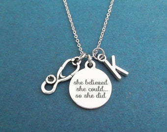 Personalized, Letter, Initial, She believed, she could..., so she did, Stethoscope, Silver, Necklace, Medical, Gift, Jewelry