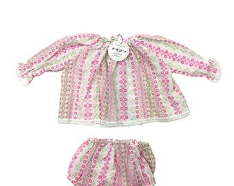 Vintage deadstock baby girls blouse top and pants set age 0-3 months 60s