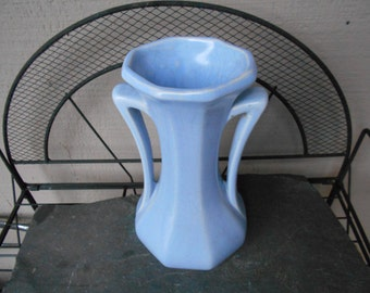Art Deco Mc COY Pottery 9  in x 5 in Robin Egg Blue  2 handled vase VG vintage condition like new