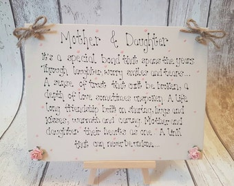 Personalised  Handmade Mother & Daughter gift wooden keepsake Mothers Day Christmas