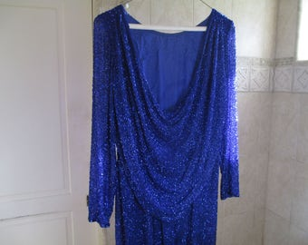 Beaded Dress - Royal Blue Dress - Evening Wear - Stunning - SIze 10 - Cowl Back - Elegant - FREE SHIPPING