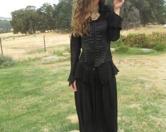 Pirate Costume - #3 - Elegant Witch Costume - Steampunk - Cosplay - Halloween - Reinactments - Black - Corset - SIze 8 - Satin Corset