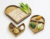 Wooden Heart Shaped Seder Plate and Matzah Tray,  Holiday Table Centerpiece Tangram inspired Modern Judaica