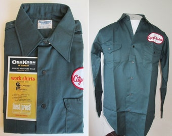 NWT 60's Osh Kosh City of Charlotte snap front NOS work shirt SIZE 14 1/2