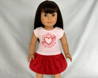 Red Heart and Rose Valentine T-Shirt and Red Skirt for American Girl/18 Inch Doll