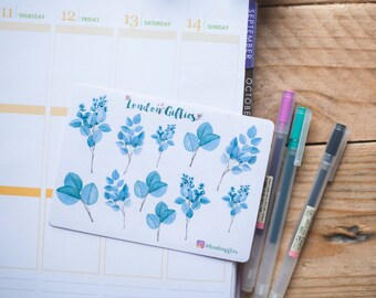 Eucalyptus leaved and branches- decorative watercolour planner stickers suitable for any planner -293-