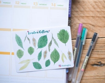 Green leaves - decorative watercolour planner stickers suitable for any planner -299-