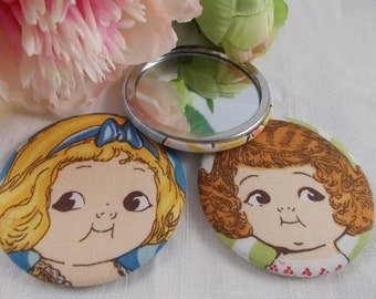 Pocket Mirror- retro mirror, compact mirror, handbag mirror, purse mirror, retro doll, gift for friend, party favor