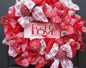 Valentine Wreath - Valentine Deco Mesh Wreath - Valentine Front Door Wreath - Valentine Mesh Wreath - Valentine Decoration - READY TO SHIP