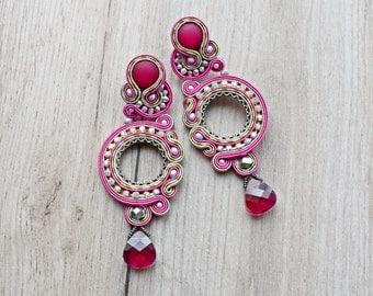 Stud - Long soutache earrings.
