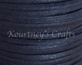 3mm Black Glitter Faux Suede Leather Cord Size 3mm 23 yards/bundle