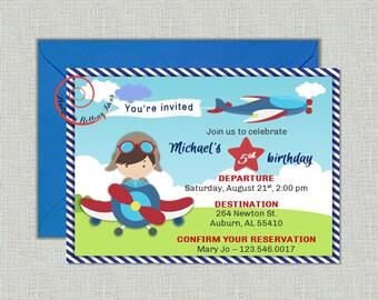 Airplane Pilot Boy Vintage Plane Birthday Party Invitation - digital, printable