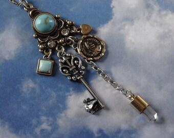 Steampunk Necklace, Steampunk Jewelry, Steampunk Pendant, Steampunk Key Pendant, Turquoise Pendant, Steampunk Key, Steampunk Vial