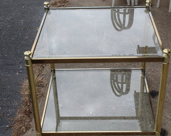 Vintage Brass & Glass end table-SALE!!