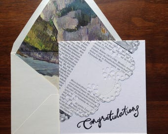 Congratulations Notecard / Calligraphy and Sewn Paper