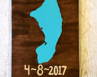 Destination Wedding Gift- Personalized Wedding Sign- Wooden Map- Map Art- Map Painting- Custom Map Art- Island Art- Cayman Islands- Travel