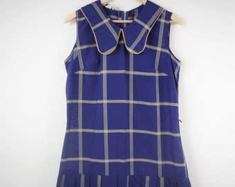Vintage 60s Plaid Dropped Waist Dress, 60s School Girl Dress, Blue and Gold Plaid, Vintage Peggy Gee Dress