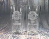 Ohio State Pint - Personalized Ohio State Pint Glass with YOUR Last Name set of 2