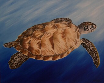 "Turtle Oil Painting, Sea Turtle, Swimming (24"" x 30"")"
