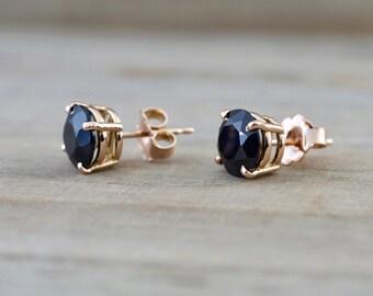 14k Solid Rose Gold Black Onyx Earring Studs Post Push Back Square