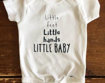 Little feet little hands little baby Baby Organic Onesie Bodysuit or Toddler Baseball T-shirt