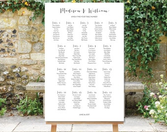 Printable Wedding Seating Chart Black And White Plan Table Assignment