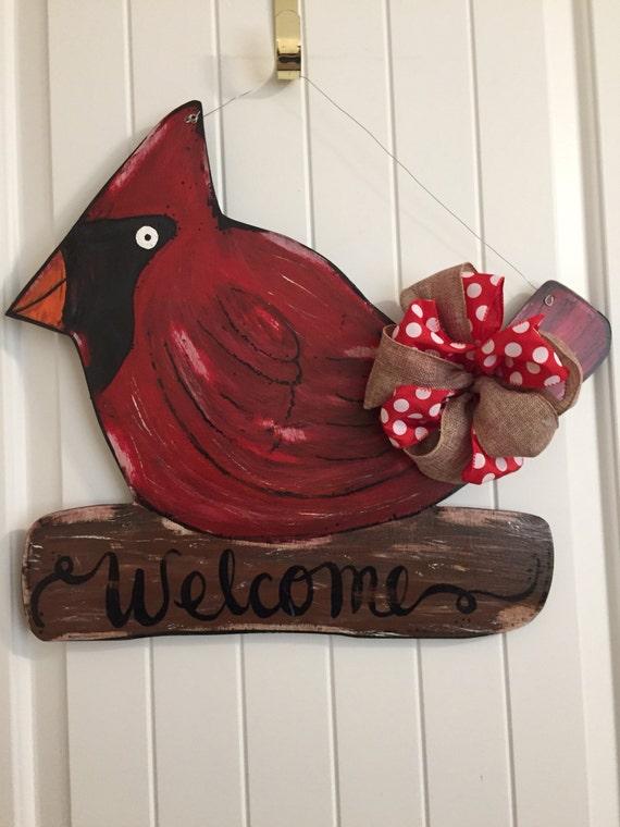 Cardinal Door Hanger Bird Door Decor Winter Wreath Winter