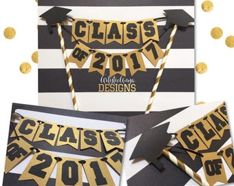 Graduation Cake Bunting Topper - Class of 2017 - Grad Party - Black White Gold Decorations