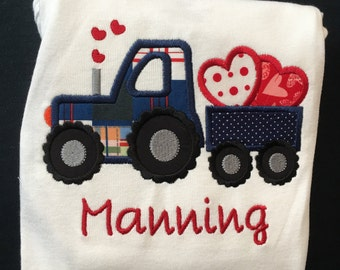 Monogrammed and Appliqued Valentine Tractor Pulling A Wagon With Hearts Bodysuit for Baby Boy Baby Girl 0-18 months or a T-shirt 18m to 5T