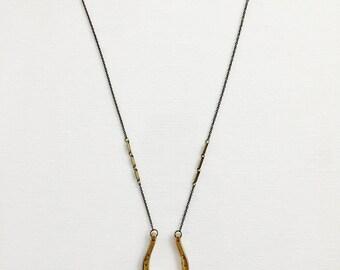 Vintage Brass Horse Shoe Charm Necklace