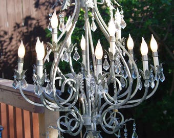 Large Crystal Chandelier, Silver Antiqued Painted Metal, Tole 12 Arm Crystal Chandelier, French Crystals (3 Sizes), Late 80s-Early 90s