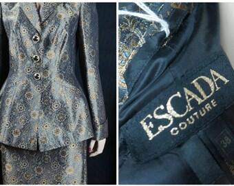 Vintage Haute Couture 2 pc Silk Brocade Suit / 80s Escada Couture Brocade Suit / Escada German Runway High Fashion Couture Dress Sz EU 38