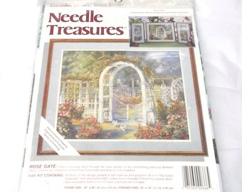 Needle Treasures Rose gate counted cross stitch kit ColorArt Barbara Hails polyester Aida cotton floss needle directions needlecrafts 90's