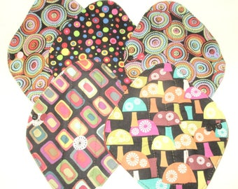 "RTS Cotton top Heavy Flow 8"" pad Windpro backing Reusable Cloth Menstrual pad Circles Geo Mushrooms Cloth Mama Pad"