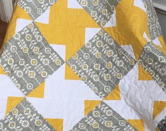 Baby girl quilt, Yellow and gray baby quilt, Spring baby quilt