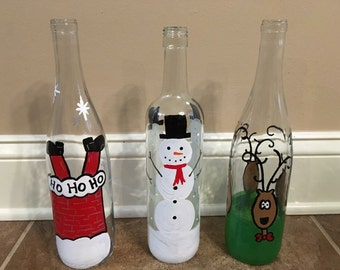 Christmas light up wine bottles, Decorative Christmas bottles, Christmas decor, Christmas decorations, Light up bottles, Xmas decorations