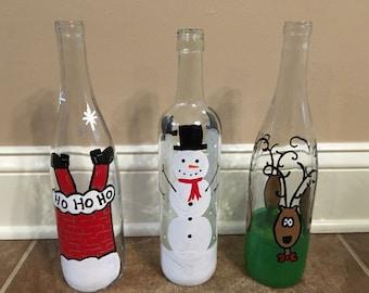Christmas light up wine bottles, Decorative Christmas bottles, Christmas decor, Christmas decorations, Light up bottles, Xmas decorations