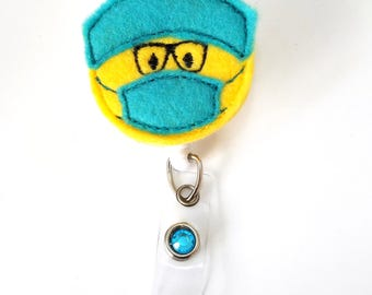 Surgeon Scrub Mask Nurse Doctor -Name Badge Holder -Surgical nurse badge holder-anesthesiologist Badge-Scrub nurse -Retractable