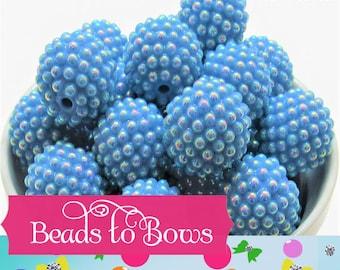 20mm Bubblegum Blue Pearl Rhinestone beads, Bubblegum Berry Bumpy Bead, Pearl Look Rhinestone Beads, Chunky Bumpy Beads, DIY Bead Supply