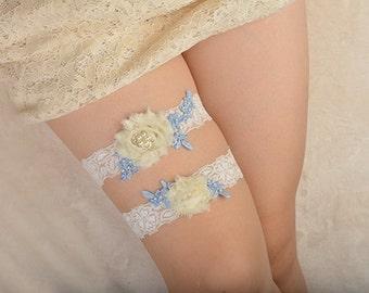blue bridal garter set, lace garter, wedding garter, ivory bride garter set, chic rosette garter, something blue garter