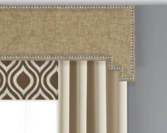 Cornice Board Pelmet Box Window Treatment in Beechwood Fabric with Nailhead Trim - Step Step Cornices by Designer Homes