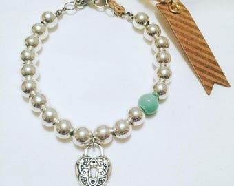 Silver Lock Charm Bracelet