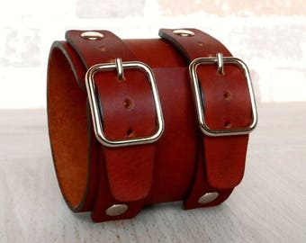 Johnny Depp Bracelet, Genuine Leather Wristband, Leather Wide Bracelet, Men Women Custom Leather Cuff, Leather Bangle.