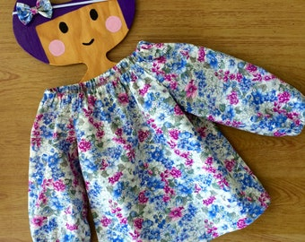 Long sleeve swing top and headband set, baby girls top, handmade girls shirt . Size 12-18 months .