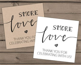 Wedding favor tags s'more Love tags Wedding Smore wedding tags Wedding favors Thank you tags Gift tags Instant download Digital PRINTABLE