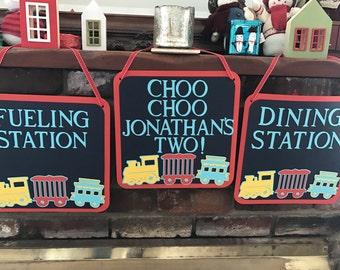 Chugga chugga two two set of 3 signs/ choo choo I'm two door dign