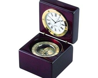 Clock in wood box with Compass Engraved, Personalized