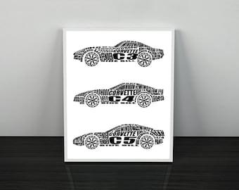 """Corvette Wall Art, Chevrolet Corvette, Garage Art, Printable Automotive Decor, Corvette Gifts, Instant Download, Corvette, 8x10"""", 14x11"""""""