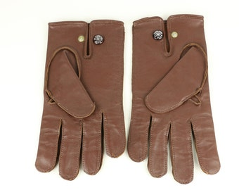 Vintage Leather Gloves with Soft Lining - English Make Newey Brothers buttons